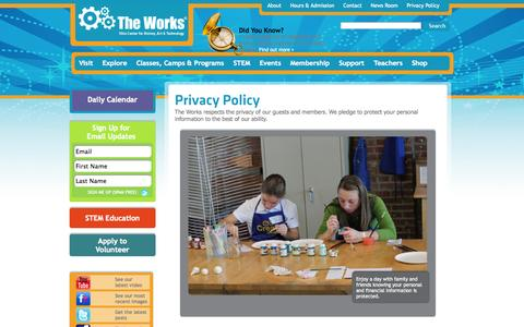 Screenshot of Privacy Page attheworks.org - Privacy Policy The Works - captured Oct. 7, 2014