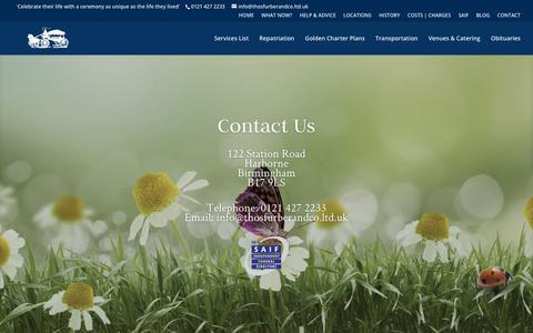 Screenshot of Contact Page thosfurberandco.ltd.uk - Funeral Directors Birmingham | Undertakers Birmingham - Thos Furber & Co Ltd - captured Oct. 18, 2018