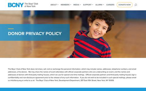 Screenshot of Privacy Page bcny.org - Donor Privacy Policy – The Boys' Club of New York - captured Nov. 16, 2018