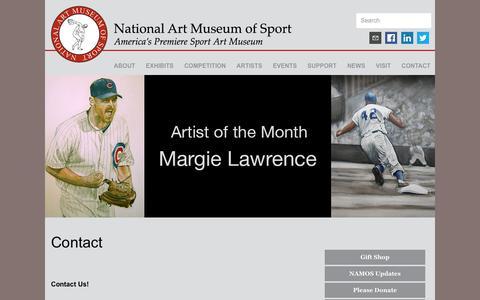 Screenshot of Contact Page nationalartmuseumofsport.org - NAMOS  Contact - captured Aug. 15, 2016