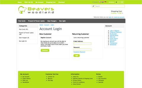 Screenshot of Login Page beaverswoodland.com - Account Login - captured Sept. 30, 2014