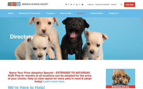 Screenshot of Contact Page azhumane.org - Contact the Arizona Humane Society - Hours And Locations - captured Sept. 22, 2018