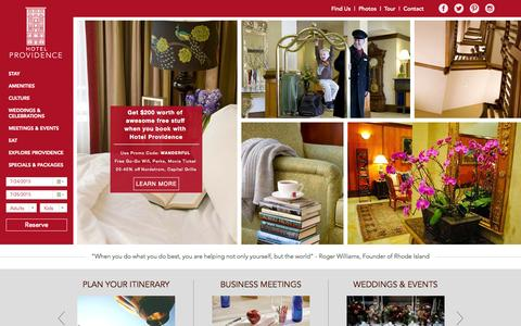 Screenshot of Home Page hotelprovidence.com - Boutique Hotels in Downtown Providence, Rhode Island - captured July 24, 2015