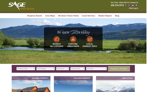 Screenshot of Home Page sagerg.com - Sage Realty Group - Teton Valley, Idaho Real Estate - captured Jan. 22, 2016
