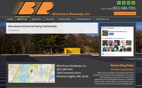 Screenshot of Testimonials Page bitroads.com - See Testimonials for Our Minnesota Commercial Paving - captured Oct. 5, 2014