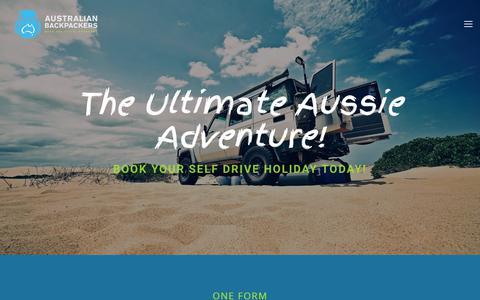 Screenshot of Home Page australianbackpackers.net - Work, Travel, Campervan & RV Hire | Australian Backpackers - captured Dec. 18, 2018