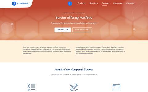 Screenshot of Services Page stonebranch.com - Service Offering Portfolio - captured Feb. 27, 2019