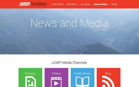 Screenshot of Press Page jumpfoundation.org - News and Media - JUMP! Foundation | JUMP! Foundation - captured Sept. 30, 2014