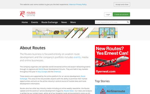 Screenshot of About Page routesonline.com - About Routes :: Routesonline - captured Sept. 22, 2018