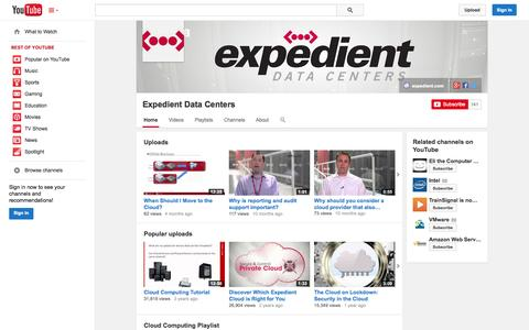 Screenshot of YouTube Page youtube.com - Expedient Data Centers  - YouTube - captured Oct. 23, 2014