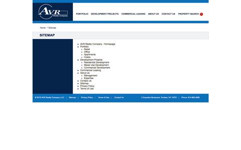 Screenshot of Site Map Page avrrealty.com - AVR Realty Company | National Real Estate Development & Investment Company headquartered in Westchester NY | Specializing in shopping centers, apartment communities, hotels, office complexes, corporate and industrial parks. - captured Feb. 5, 2016