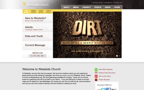 Screenshot of Home Page westsidechurch.org - Westside Church - Bend Oregon Foursquare Churches 97701 - captured Oct. 7, 2014