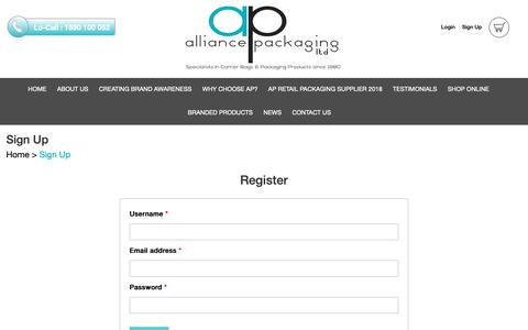 Screenshot of Signup Page alliancepackaging.ie - Sign Up - Alliance Packaging - captured Oct. 3, 2018