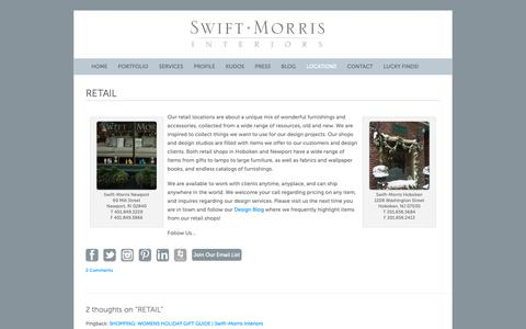 Screenshot of Locations Page swiftmorrisinteriors.com - RETAIL | Swift-Morris Interiors - captured Oct. 20, 2018