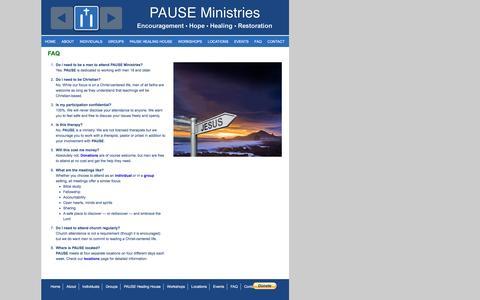 Screenshot of FAQ Page pauseministries.org - FAQ | Pause Ministries - captured July 11, 2016
