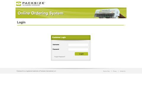 Screenshot of Login Page packsize.com - Online Ordering System - captured April 28, 2019