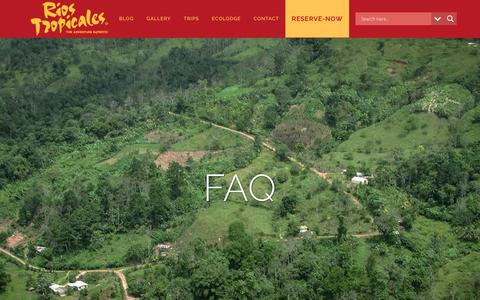 Screenshot of FAQ Page riostropicales.com - FAQ | Rios Tropicales-The Adventure Experts - captured Nov. 19, 2018