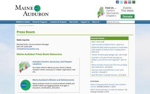 Screenshot of Press Page maineaudubon.org - Press Room - Maine AudubonMaine Audubon - captured Oct. 29, 2014