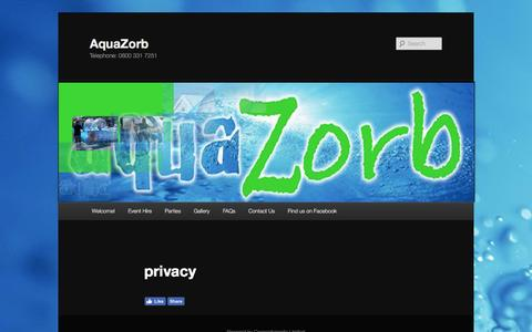 Screenshot of Privacy Page aquazorb.co.uk - privacy | AquaZorb - captured July 26, 2016