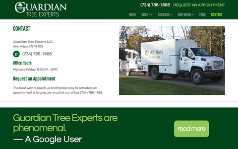 Screenshot of Contact Page guardiantreeexperts.com - Contact Us | Guardian Tree Experts - captured July 25, 2018