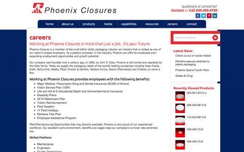 Screenshot of Jobs Page phoenixclosures.com - Careers - Phoenix Closures - captured Oct. 1, 2014