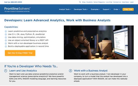 Screenshot of Developers Page solver.com - Developers: Learn Advanced Analytics, Work with Business Analysts   solver - captured Sept. 23, 2018