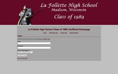 Screenshot of Login Page lafollette89.com - La Follette Class of 1989 - captured June 16, 2016