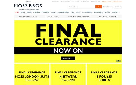 Screenshot of Home Page moss.co.uk - Moss Bros. | Suits, Coats, Shirts, Trousers & Blazers - captured Jan. 16, 2016