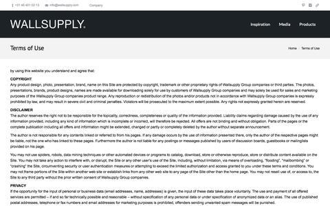 Screenshot of Terms Page wallsupply.com - WALLSUPPLY | Terms of Use - WALLSUPPLY - captured Oct. 27, 2014