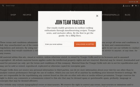 Screenshot of Terms Page traegergrills.com - Terms and Conditions - captured Feb. 12, 2016