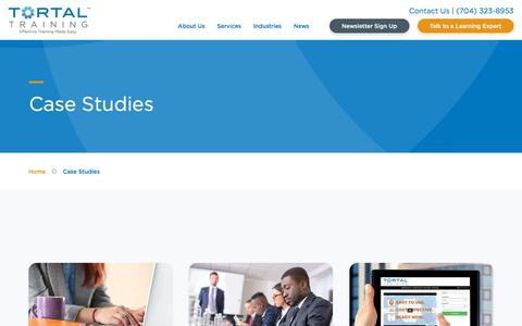 Screenshot of Case Studies Page tortal.net - Training Industry Case Studies: See How Training Helps | Tortal - captured Sept. 24, 2018