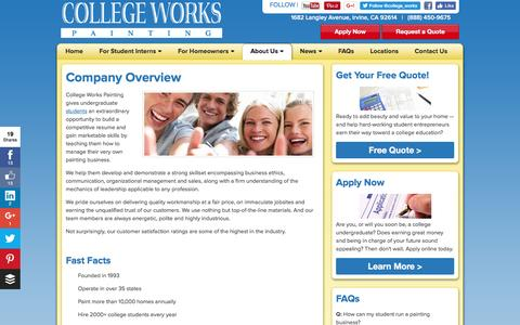 Screenshot of About Page collegeworks.com - About College Works Painting Internship | CollegeWorks.com - captured Nov. 9, 2016