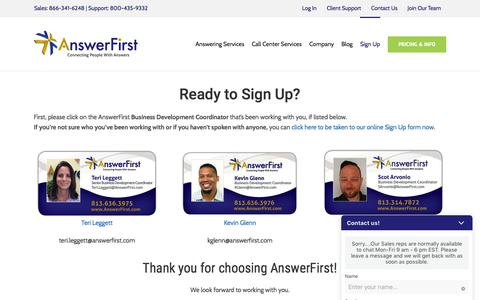 Screenshot of Signup Page answerfirst.com - Sign Up For Answering Services or Inbound Call Center Solutions Now - captured Oct. 10, 2019