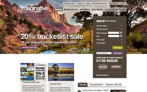 Screenshot of Home Page imaginative-traveller.com - Adventure Travel & Activity Holidays, Group Tours � Imaginative Traveller - captured Jan. 8, 2016
