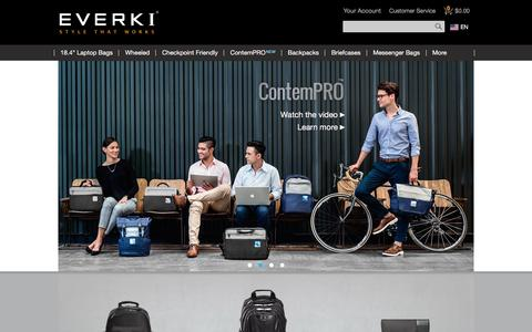 "Screenshot of Home Page everki.com - Cool Laptop Bags | 18.4 - Cool Laptop Bags | 18.4"" Laptop Bags, Backpacks, Briefcases - captured May 21, 2017"