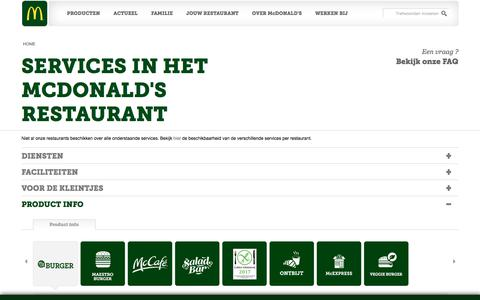 Screenshot of Services Page mcdonalds.nl - SERVICES IN HET MCDONALD'S RESTAURANT | McDonald's - captured Oct. 18, 2017