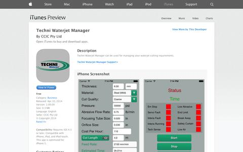 Screenshot of iOS App Page apple.com - Techni Waterjet Manager on the App Store on iTunes - captured Oct. 26, 2014