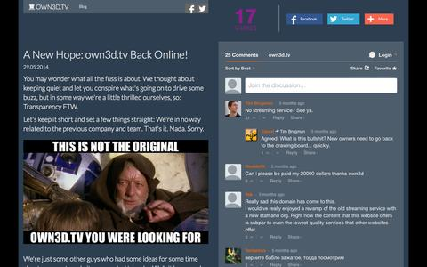 Screenshot of Blog own3d.tv - A New Hope: own3d.tv Back Online! — own3d.tv - captured Oct. 26, 2014