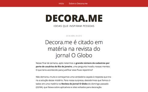 Screenshot of Blog decora.me - Decora.me | Ideias que inspiram pessoas - captured Sept. 25, 2014