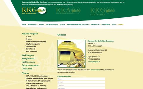 Screenshot of Contact Page kkgkka.nl - Neem vrijblijvend contact op met KKGKKG KKA - captured Oct. 14, 2018