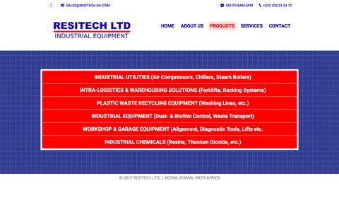 Screenshot of Products Page resitech-gh.com - PRODUCTS | RESITECH LTD. - captured Oct. 22, 2017