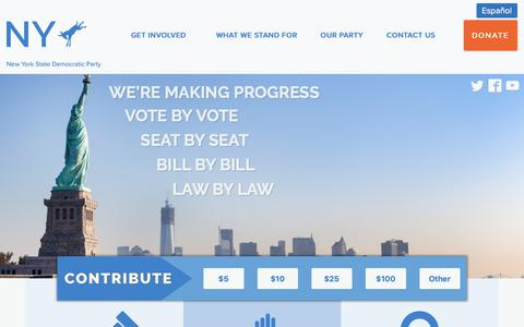 Screenshot of Home Page nydems.org - New York State Democratic Party | Progress Starts Here - captured Jan. 21, 2019