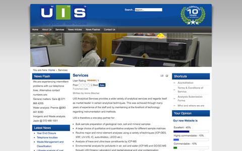 Screenshot of Services Page uis-as.co.za - UIS Analytical Services - Services - captured Feb. 2, 2016