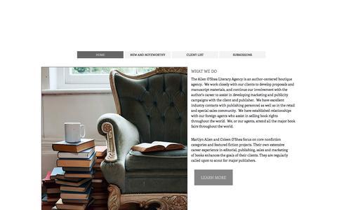 Screenshot of Home Page allenoshea.com - Allen O'Shea Literary Agency - captured Feb. 5, 2016