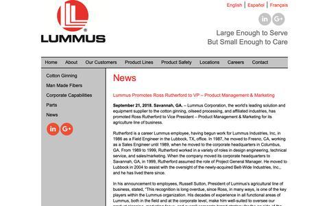 Screenshot of Press Page lummus.com - Lummus News, Lummus Corporation, Savannah Georgia - captured Feb. 20, 2019