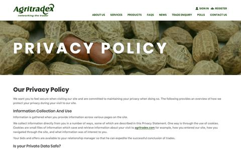 Screenshot of Privacy Page agritradex.com - Privacy Policy   Agritradex - captured Oct. 3, 2018