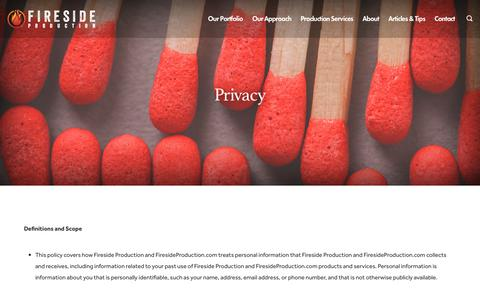 Screenshot of Privacy Page firesideproduction.com - Privacy - Fireside Production - captured Aug. 13, 2018