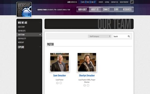 Screenshot of Team Page worshipcenter.org - Our Team - Worship Center, a church in Lancaster, Pennsylvania - captured Oct. 1, 2014