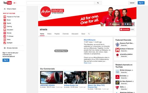 Screenshot of YouTube Page youtube.com - airasia  - YouTube - captured Oct. 27, 2014