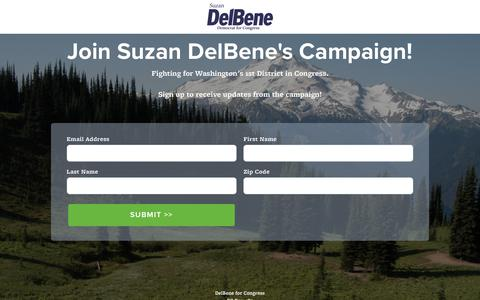 Screenshot of Signup Page delbeneforcongress.com - |  Join Suzan's Campaign - captured Aug. 6, 2018